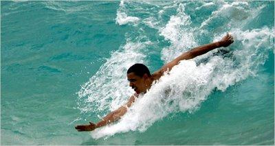 obama swimming in ocean