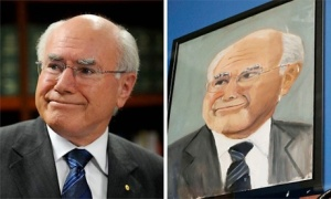 John Howard, the Australian prime minister, in a photographic portrait and as he was painted by Bush