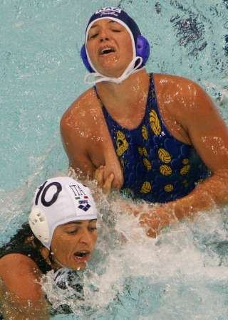 Excited water polo wardrobe malfunction