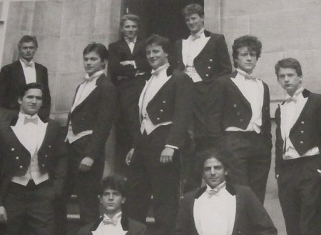 Porking boy: David Cameron pictured (center) as part of the Bullingdon Club at Oxford in 1988